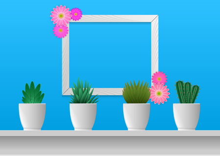 Realistic 3d houseplants in potted and photoframes on the wall. Floral flat lay minimalism geometric patterns greeting card. Vector Illustration.