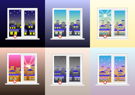 set of different views from the window: morning, afternoon, evening, night, cloudy rainy, clear and snowy weather. Red alarm clock on the windowsill. Vector Illustration