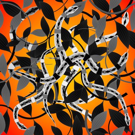 Groviglio di serpenti e foglie Pattern Seamless su uno sfondo arancione sunligth. illustrazione vettoriale