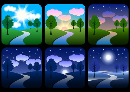 schöne Landschaft mit Steigungen. Sonnenaufgang, Morgendämmerung, Morgen, Tag, Mittag, Sonnenuntergang, Abenddämmerung und Nacht. Sonnenzeitsymbole eingestellt. Naturlandschaften zu verschiedenen Tageszeiten. Vektorillustration