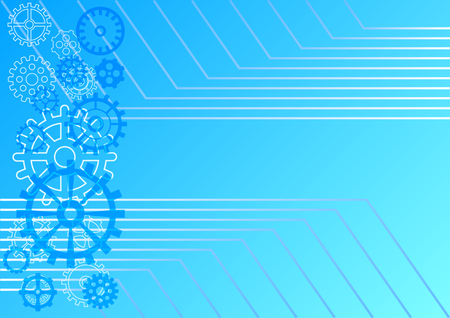 light abstract technology background. Blue gradient background with different gear wheels and horizontal parallel corner lines. Vector Illustration Illusztráció