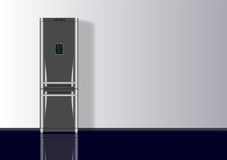 Realistic 3d minimal composition background with Refrigerator. Vector Illustration Иллюстрация