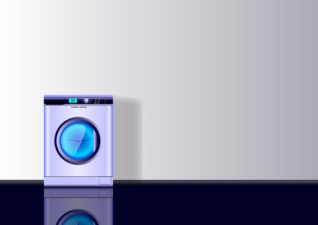 Realistic 3d minimal background with Washing mashine. Vector Illustration