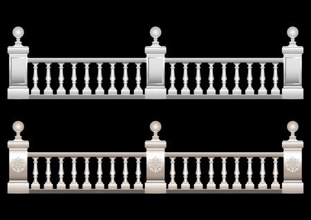 Hermosa barandilla 3d realista con adornos, estuco, mármol, piedra, barroco con bolas. Ilustración vectorial