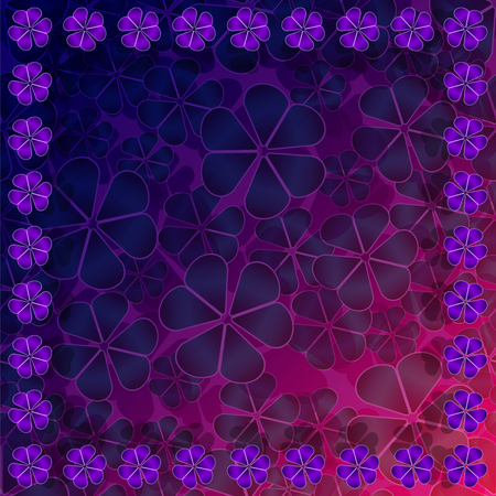 Realistic 3d purple shamrock nature frame on a pattern seamless background. Vector Illustration