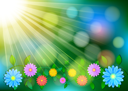 Natural outdoors bokeh realistic background in green and yellow tones with sun rays with green branches and flowers in the corner with highlights. Vector illustration 写真素材 - 117587462