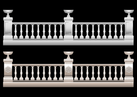 Beautiful Realistic 3d railing with ornament, stucco, marble, stone, Baroquewith flower bed. Vector illustration