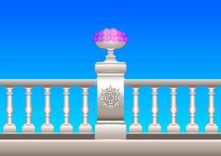 Hermosa barandilla 3d realista con adornos, estuco, mármol, piedra, barroco con macizo de flores. Ilustración vectorial Ilustración de vector