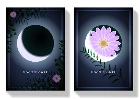 Imposta la carta Moon Flower. Rami di piante verdi con fiori rosa al chiaro di luna di notte. illustrazione vettoriale Vettoriali