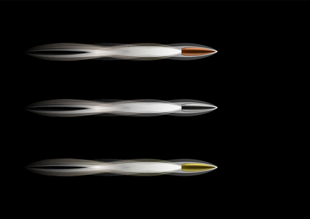 Set Realistic flying bullets with smoke trace isolated on black background, a group of fired bullets in motion, firearms shells of various metal vector illustration