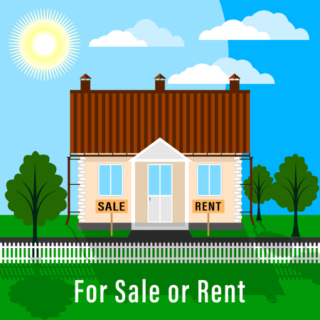 Realty for Sale or Rent. Land plot with trees, green lawn and house, fenced with front garden in sunny weather. Flat Vector Illustration  イラスト・ベクター素材