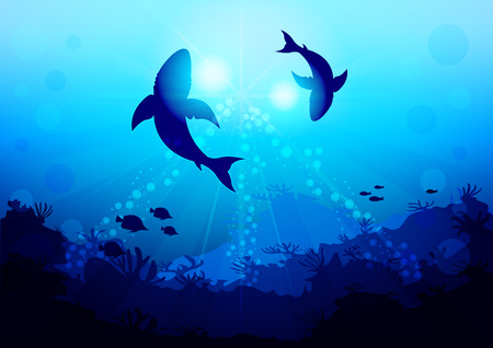 Two big sharks are circling under the water illuminated by sunlight and rays, coral reef, view with the bottom of the ocean. Realistic Vector Illustration