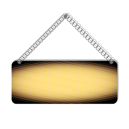 Realistic burnt wooden Bulletin, sign board, suspended on a metal chain, isolated on a white background. Vector Illustration