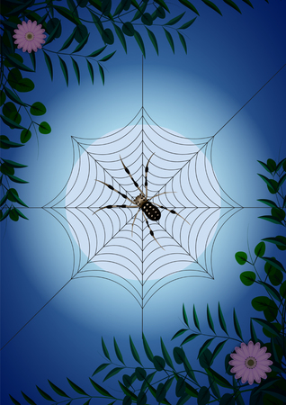 spider web among green branches and flowers on the background of the moon. Vector Illustration