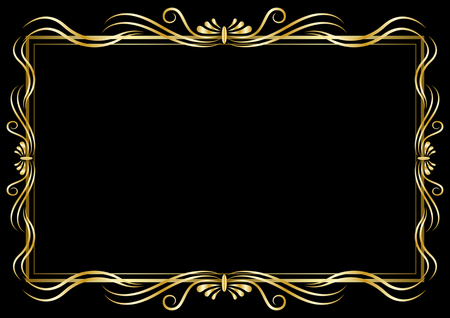 Golden decorative pattern frame isolated on a black Background. Vector Illustration