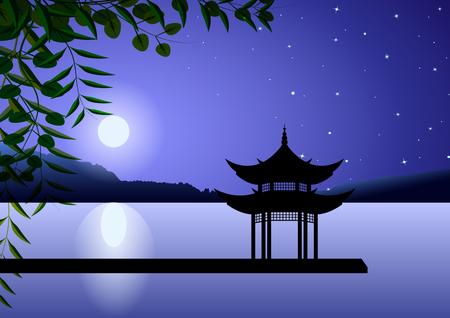 Beau paysage oriental. Pagode de nuit sur le rivage à la pleine lune contre le ciel étoilé. Illustration vectorielle