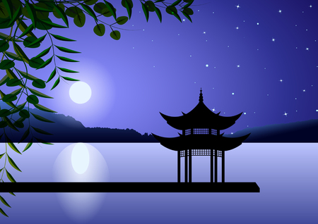 Hermoso paisaje oriental. Pagoda de noche en la orilla de luna llena contra el cielo estrellado. Ilustración vectorial
