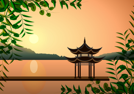Beau paysage oriental. Pagode au coucher du soleil sur les rives des lacs ou des rivières. Illustration vectorielle Vecteurs