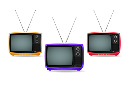 different color, old, vintage, retro, small, portable plastic televisions isolated on white background. Realistic Vector Illustration
