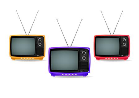 Televisores de plástico de diferentes colores, viejos, vintage, retro, pequeños y portátiles aislados sobre fondo blanco. Ilustración vectorial realista Ilustración de vector