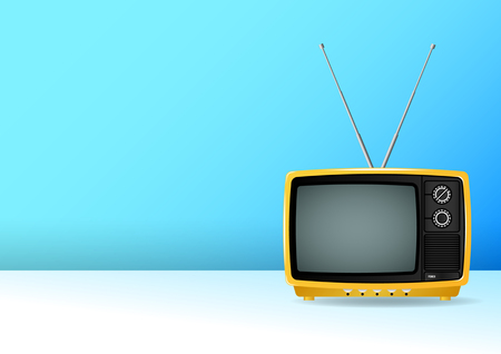 old, vintage, retro, small, yellow portable plastic television isolated the blue wall. Realistic Vector Illustration