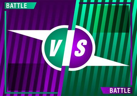 Versus screen design. Purple and Green VS letters. Battle between opponents. Beautiful gradient background of stripes. Vector illustration Çizim