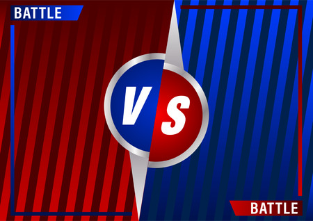 Versus screen design. Red and blue VS letters. Battle between opponents. Beautiful gradient background of stripes. Vector illustration