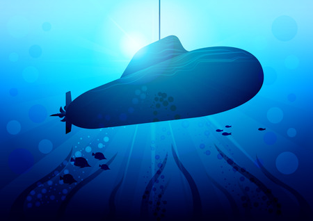 Realistic Submarine in the sun glare under the water among algae and fish. Vector Illustration
