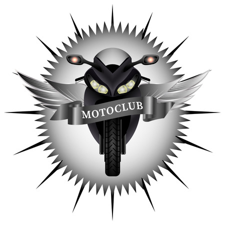 Round black motoclub emblem. Modern Motobike with silver wings, wavy ribbon. Biker patch. Front view. Realistic Vector Illustration