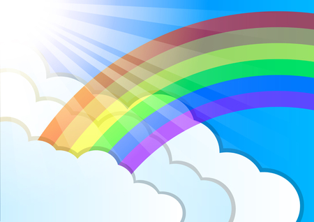 Rainbow. sun rays and clouds elements. Summer weather. Beautiful nature landscape. Sweet sky.  Vector Illustration Ilustrace