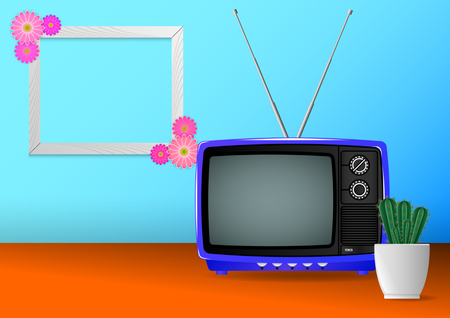 Realistic minimal composition, blue color old vintage retro portable television and hause plants cactus on table, photoframe with a flower. Vector Illustration