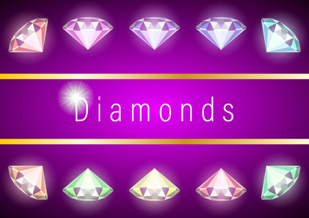 Set realistic multicolored diamonds. Closeup for decorative design. Gems and jewels on purple background. Multicolor shiny gemstone with cuts. Colorful vector illustration.