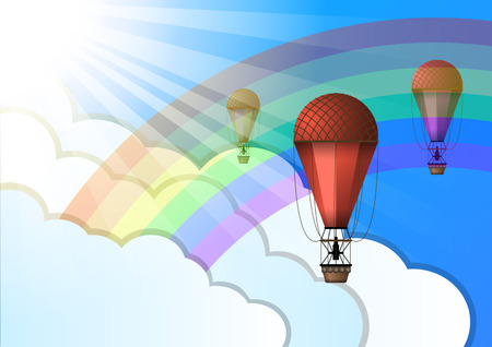 Vintage Air balloons of different colors on the background of blue sky, rainbow, clouds and sunlight. Vector Illustration Vector Illustration