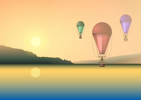 Air balloons of different colors on the background of a summer beautiful sunset or dawn, flying over the water, lake or river. Realistic Vector Illustration Stock Illustratie