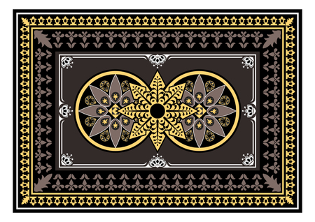 Carpet with dark beige and yellow colors. The Eastern rectangular rug with different patterns and frames. Tribal texture Vector Illustration