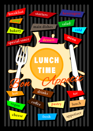 Cover Broshure Design Menu Lunch Time. Lettering, graphics logo, flat style. Vector illustration