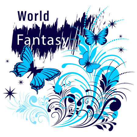 World Fantasy Shirt Slogan. Butterflies fly among flowers and stars. Flat Style Vector Illustration  イラスト・ベクター素材