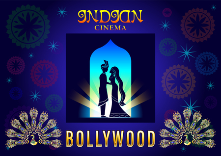 Bollywood Banner Love Romantic. Gold Peacock, loving couple, Indian Cinema Poster. Illustration
