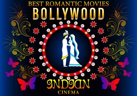 Bollywood Banner Love Romantic. Gold inscription, loving couple in Pattern flowers circle, Indian Cinema Poster. Vector illustration 向量圖像