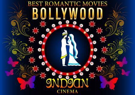 Bollywood Banner Love Romantic. Gold inscription, loving couple in Pattern flowers circle, Indian Cinema Poster. Vector illustration Ilustração