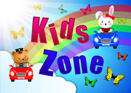 Kids Zone banner, poster. Bunny, Teddy and butterflies in cars on a background rainbows, clouds, blue sky and sunlight. Cartoon vector illustration Stockfoto - 129279229