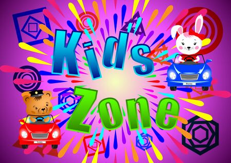 Kids Zone banner, poster. Bunny, Teddy and butterflies in cars on a bright abstract background, multi-colored splashes and various geometric shapes. Cartoon vector illustration