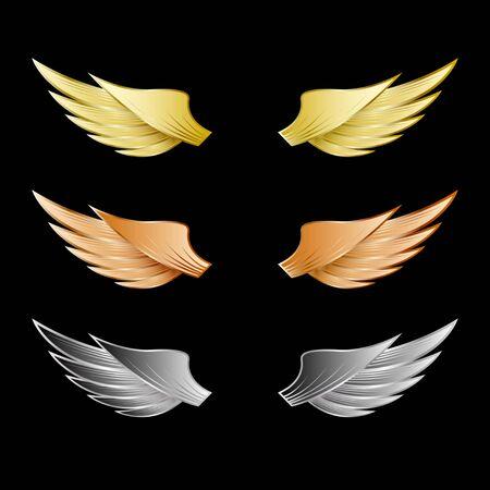 Conjunto de alas de metal dorado, bronce, plateado aislado sobre un fondo negro Ilustración de vector
