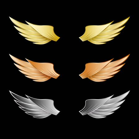 Set of wings gold, bronze, silver metal isolated on a black background