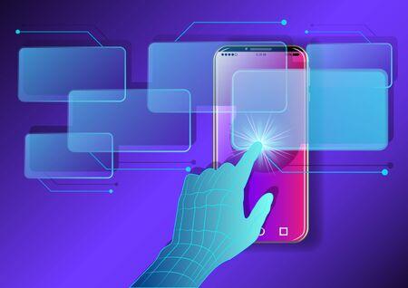 Hand, finger presses on Virtual screens Smartphone. Smart innovation technology internet business concept. Vector illustration Stok Fotoğraf - 129279233