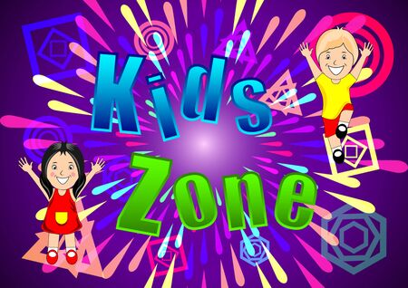 Kids Zone banner, poster. Girl, Boy on a bright abstract background, firework, multi-colored splashes and various geometric shapes. Cartoon vector illustration