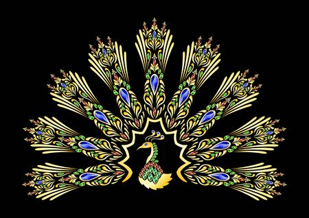 Golden peacock decorated with precious stones isolated on a black background Illustration