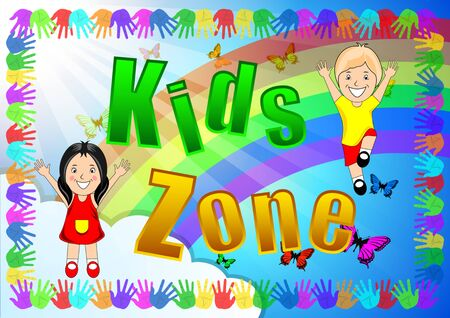 Kids Zone banner, poster. Girl, Boy on a bright background, Frame color handprints, rainbow, sunlight, blue sky, clouds, flying butterflies. Cartoon vector illustration