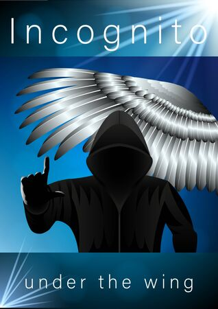 hooded man in black, Incognito pointing finger, front view, under the silver wing of a bird with feathers, poster. Vector illustration