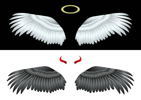 White Wings Angel and gold Nimbus, Black wings of fallen angel and red horns. Isolated on a background Vector Illustration  イラスト・ベクター素材